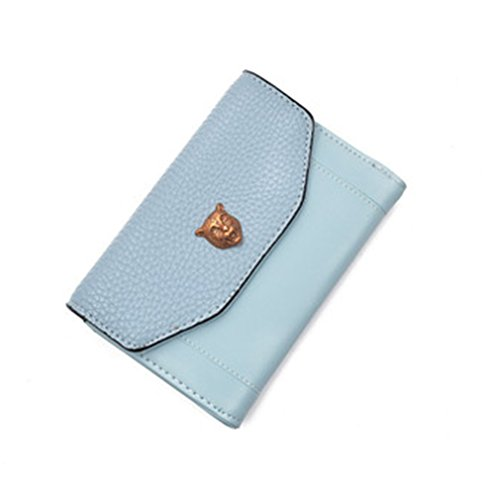 Women Short Wallets-Tiger Buckle RFID Blocking Card Holder Trifold Small Clutch Purse Tigers Leather Money Clip