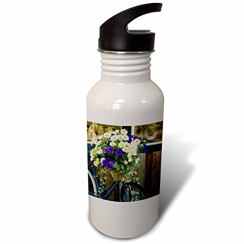 3dRose Danita Delimont - Canada - Vancouver Island. Flowers, bicycle in front of bakery, Cowichan Bay - Flip Straw 21oz Water Bottle (wb_226780_2)