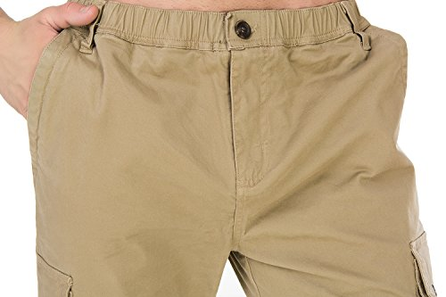 Relaxed Fit Elastic Cargo Cleaning Pant-front closeup