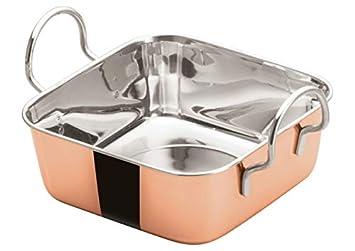 WInco DDSB-202C, Mini asador cuadrado de acero inoxidable chapado en cobre de 12,7 cm, rejilla, sartén, taza de salsa: Amazon.es: Hogar