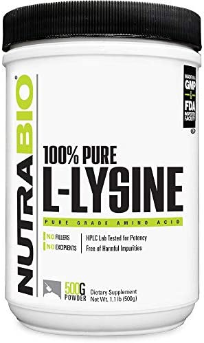 NutraBio L-Lysine Powder – 500 Grams