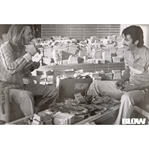 (24x36) Blow Movie Johnny Depp Counting Money B&W Photo Poster Print