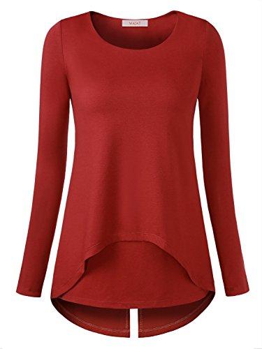 WAJAT - Camiseta Blusa para Mujer Bajo Irregular Rojo