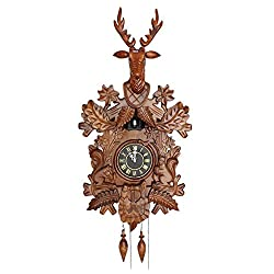 xing lin Wall Decor Clock Wood-Colored White Oversized ClockWood Handmade Smart Photo Cuckoo Clock Bell Large Wall Clock, 20 Inches