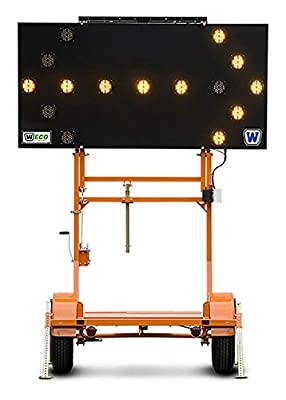 "ECO Solar Arrow Boards, 1 40/50W panel, 12V batt, Orange Pwdr Ctd, 2""hitch, 15 Lights, 7 Arrow Modes"