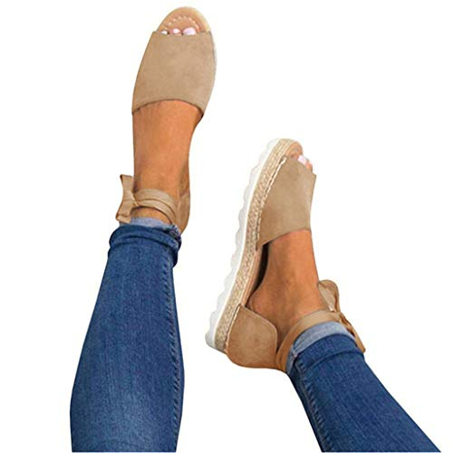 (JOYCHEER Womens Espadrilles Flat Sandals Open Toe Ankle Wrap Lace Up Strappy Sandal Khaki)