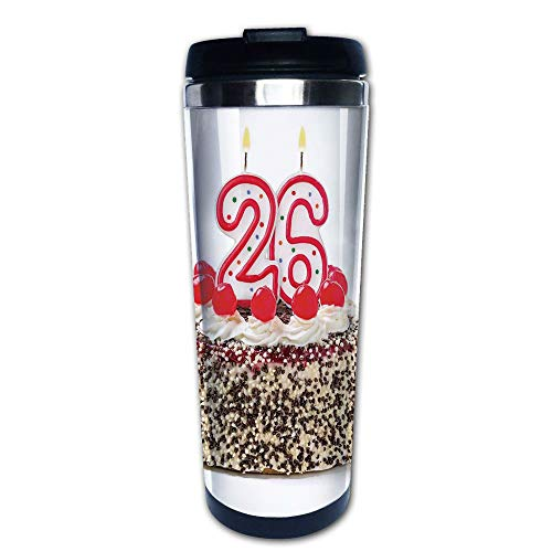 - Stainless Steel Insulated Coffee Travel Mug,Cake Sweet Anniversary Delicious Dessert Candles,Spill Proof Flip Lid Insulated Coffee cup Keeps Hot or Cold 13.6oz(400 ml) Customizable printing
