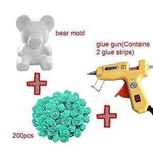 Overstep Handcrafted DIY Rose Bear Kit White 3D Foam Bear Modeling 200Pcs Mini PE Foam Artificial Rose Flower and Glue Gun Gift DIY Set 110