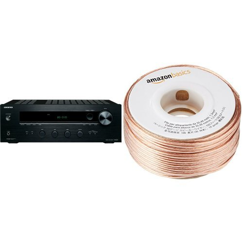 Price comparison product image Onkyo TX-8020 Stereo Receiver and AmazonBasics 16-Gauge Speaker Wire - 100 Feet Bundle