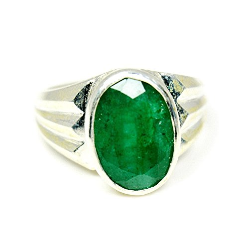 - Jewelryonclick Natural 7 Carat Emerald Silver Rings for Men's Mark Design with Bezel Setting in Size 4-13