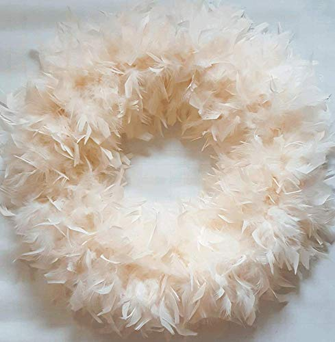 (Fluffy Ivory XL Christmas Feather Wreath…Gorgeous Home Accent)