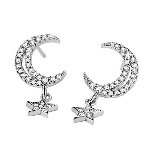 AVECON 925 Sterling Silver CZ Moon Stud Earrings, Micro Pave Shinning Cubic Zirconia Star Dangle Drop Earrings for Women (Moon)