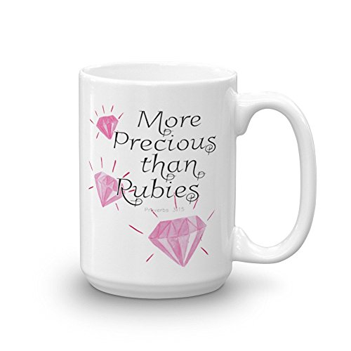 SAYOMEN - More Precious Than Rubies, Bible Verse Mug, Encouraging Mug, Scripture Mug, Bible Verse, Ceramic mug, Coffee Mug, MUG113 MUG 11oz