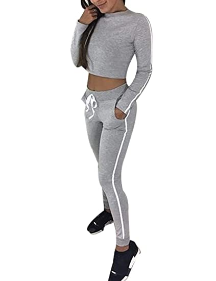 85acbcde9ab3b Survêtement de Sport Femme 2 Pièce Ensemble Sportwear Top Sweat Col Rond  Manches Longues et Pantalon