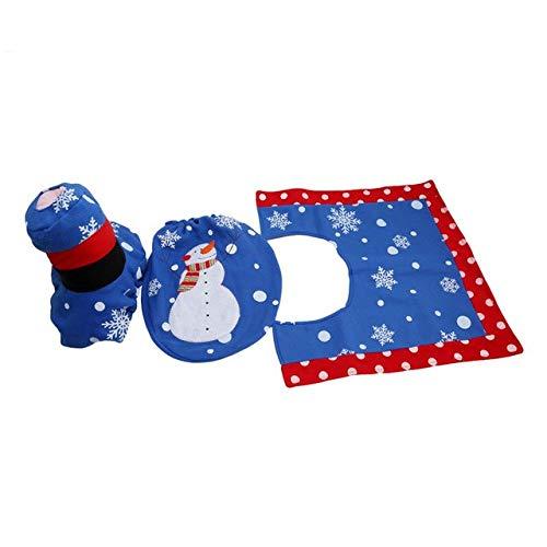 STORE-HOMER - Christmas Home Bathroom Toilet Seat Cover Rug 3PCs/ Set Blue Snowman New Year decoratie adornos de navidad halloween decoration