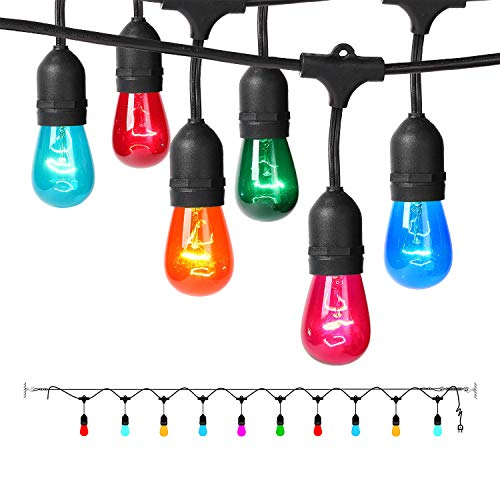 Colored Outdoor String Lights, 17.3Ft Weatherproof Connectable Multicolored Commercial Lighting Strands with 10 Hanging Sockets and 12 S14 Bulbs for Patio Bistro Porch Garden Deck Café or Party (String Lights Colored)