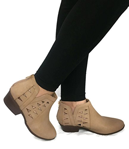 Womens Cut Out Ankle Leather Booties product image