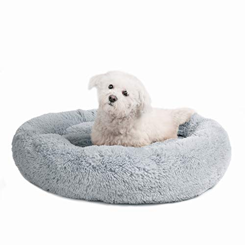 Veehoo Self-Warming Round Dog Bed for Medium Dogs & Cats, Luxurious Faux Fur Donut Cuddler, Bolster Pet Bed & Sofa, Extra Plush Dog Pillow & Couch, Machine Washable, Grey