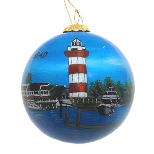 (Hand Painted Glass Christmas Ornament - Hilton Head Island)
