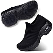 STQ Damen Schuhe Slip On Sneakers Freizeit Atmungsaktive Fitness Turnschuhe Plattform Air Leichte Outdoor Walking Schuhe