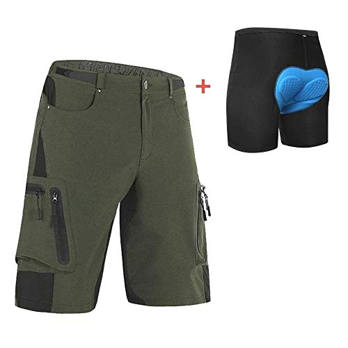 Ally Padded Mountain Bike Shorts, Water Repellent Mens Cycling MTB Shorts, 7 Pockets (Army Green-Padded, L 32-34)