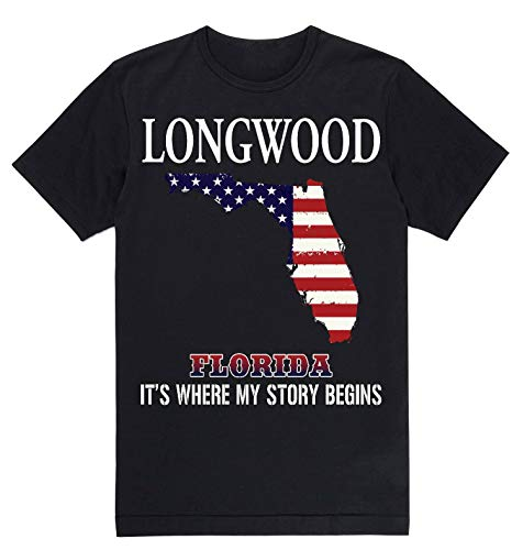 Lovely Decorations Independence Day Shirt - Longwood Florida FL It's Where My Story Begins Black