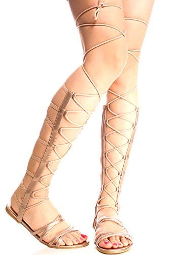 Lolli Couture For Alltid Knytte Faux Skinn Multi Reim Se Tilbake Glidelås Åpen Tå Stil Kne Høye Gladiator Sandaler Rosen Raku-65s