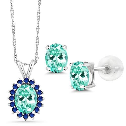 Gem Stone King 2.57 Ct Oval Blue Apatite 14K White Gold Pendant Earrings Set