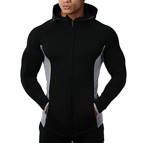 Mechaneer Men's Fitness Gym Workout Hoodie Active Bodybuilding Zip Jackets(Black L/Tag 2XL)