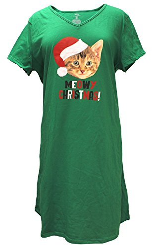 Christmas Meowy Christmas Kitty Cat Green Nightgown Long Sleep Shirt - L/XL