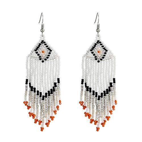 (Hemlock Bohemia Long Earrings Beads Tassel Earrings Fashion Drop Earrings Dress Earrings Studs Jewelry (White))