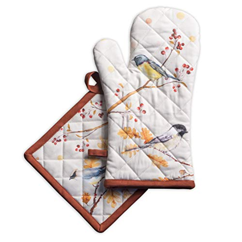Maison d'Hermine Oak Leaves 100% Cotton Set of Oven Mitt (7.5 Inch by 13 Inch) and Pot Holder (8 Inch by 8 Inch).