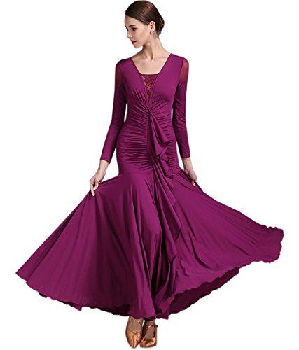 Women's Long Sleeve Mermaid Flounce Chiffon Waltz Tango Flamenco Salsa Samba Showcase Dance Dresses (Dance Waltz Dress)