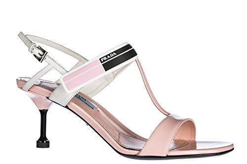 Prada Damen Leder Sandalen mit Absatz Sandaletten Weiß