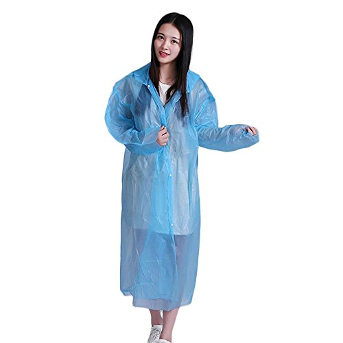Foreveryang Portable Disposable Adult Thickened Four Buckle Raincoat Ride/Tour Silk Poncho(Blue)