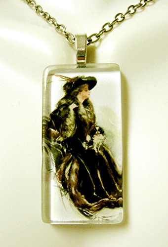 (Riding with my Japanese Chin glass pendant - DGP02-409 - Harrison Fisher)