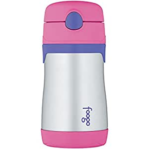 THERMOS FOOGO Vacuum Insulated Stainless Steel 10-Ounce Straw Bottle, Pink/Purple