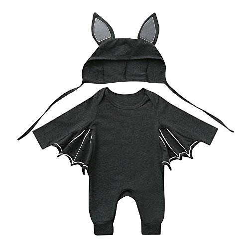 Crytech Cute Infant Toddler Bat Costume Cloak Romper with Hat Outfit, Soft Comfy Cotton Newborn Baby Boy Girl Halloween Long Sleeve Cosplay Clothes Jumpsuits for Children Kids (3-6 Months, Dark Grey)