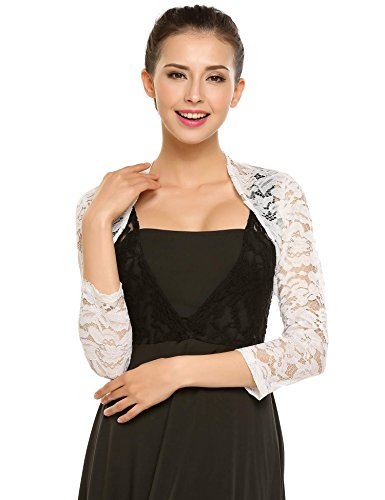 Zeagoo Women's 3 4 Sleeve Bolero Shrugs Crochet Lace Open Cardigan,White,XX-Large