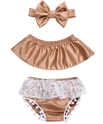 Newborn Infant Baby Girl Clothes Lace Halter Backless Jumpsuit Romper Bodysuit Sunsuit Outfits Set (Champagne, 0-6 Months) -