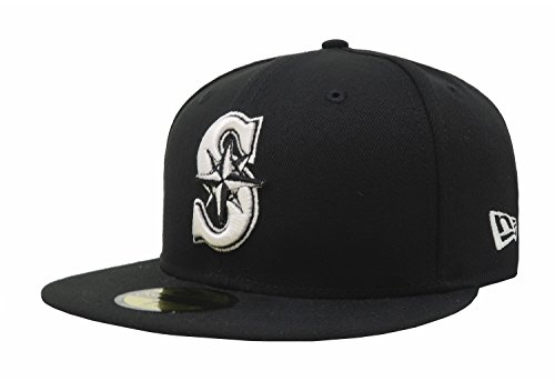 MLB Seattle Mariners Black with White 59FIFTY Fitted Cap, 7 5/8