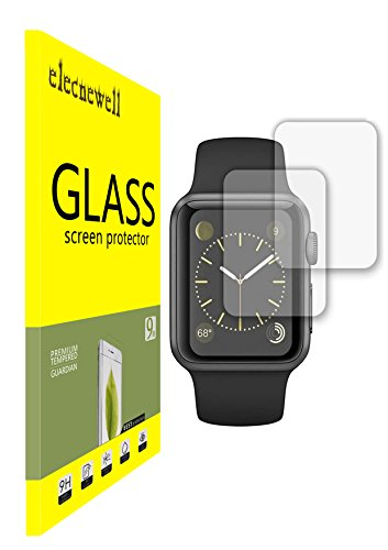 NEWELL™ [2 Pack] Apple Watch Premium Ultra Clear Bubble-free HD Shield Tempered Glass Screen Protector (2pcs for Apple Watch 38mm)