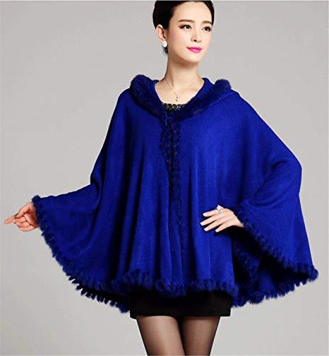 Warm BOLAWOO Blouson Cape Fourrure Manteau Chic Hiver Chale Bouffant Automne Couleur Unie Fashion Blau Elgante paisseur Capuchon Poncho Femme Mode avec Casual aqfrwa