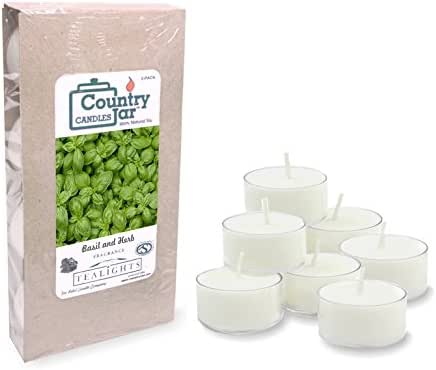 Country Jar Basil and HERB Tea Light Candles, (8-Pack/.75 oz. ea.) 100% Natural Soy (3 OR More Sale!)