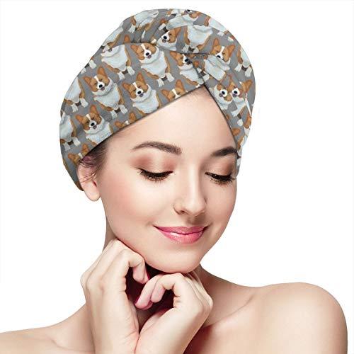 Hair Drying Towel, Dry Hair Cap, Fast Drying Hair Towel Wrap Turban, Cute Corgis Puppy