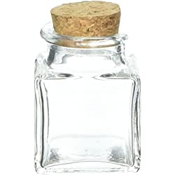 Kate Aspen, Square Glass Favor Jar, with Cork Stopper, Petite Treat, 12 Count