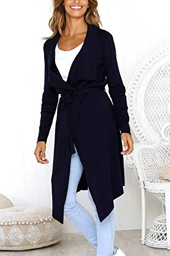 Zonsaoja Jacket Ceinture Avec Manteau Asymmetric Longs Black Femmes Outwear rRf8OUr