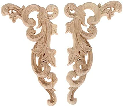 HEALLILY 2Pcs Wood Carved Applique Onlay Furniture Corner Onlay Decals Decorative Flower Frame Applique for Cabinet Door Cupboard