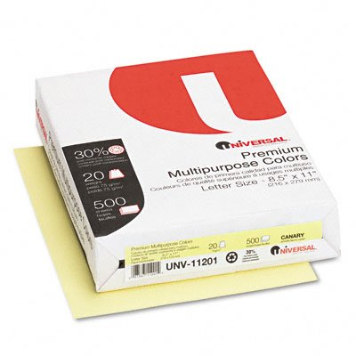 Universal : Premium Color Copy/Laser Paper, Canary, 20lb, Letter, 500 Sheets -:- Sold as 2 Packs of - 500 - / - Total of 1000 Each