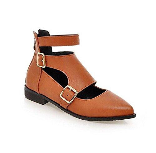 XIE Womens Court Zapatos Punta Dedo del pie Hebilla Cinturón bajo para Ayudar a la Primavera Plana y Zapatos de Otoño, Yellow, 41 YELLOW-43